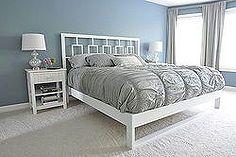 simple bedframe, bedroom ideas, painted furniture