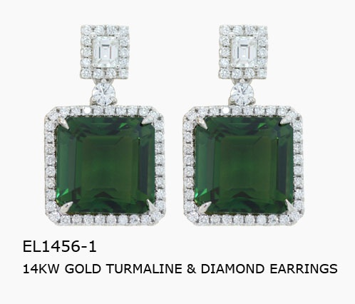 EL1456-1  20.03CT TURMALINE AND 1.71CT DIAMOND EARRINGS IN 14KW