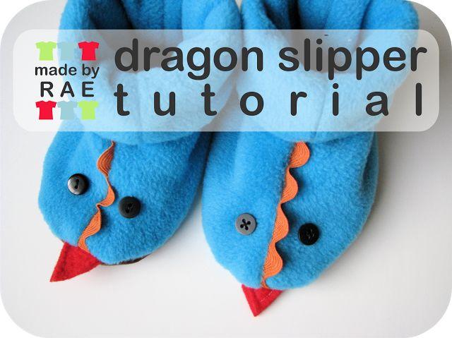 Kinder /Baby Schuhe, Stiefel, Hausschuhe nähen (nach eigenen Maßen), als Drache oder ohne Deko I Dragon Fleece Slippers Tutorial