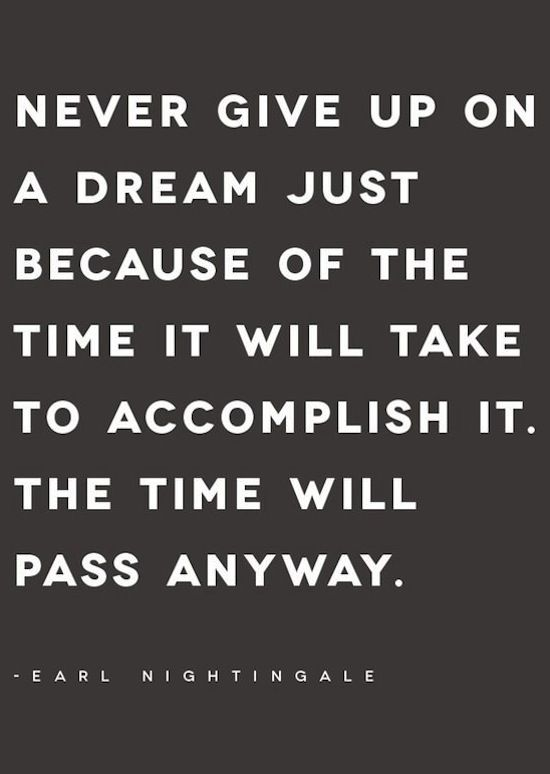 Never give up on a dream just because of the time it will take to accomplish it. The time will pass anyway. -Earl Nightingale