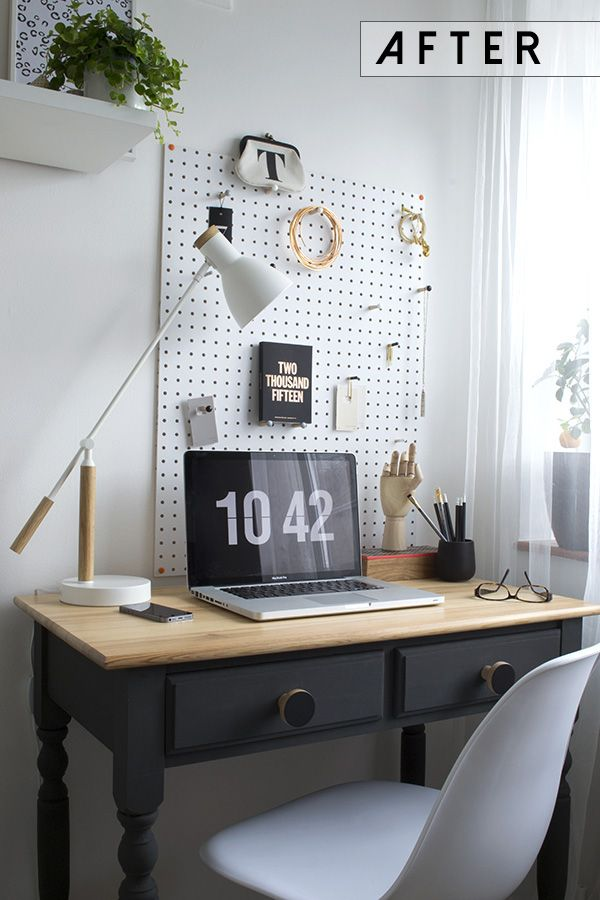 DIY Pine Desk Chalk Paint After Workspace Office Makeover Curate and Display Blog