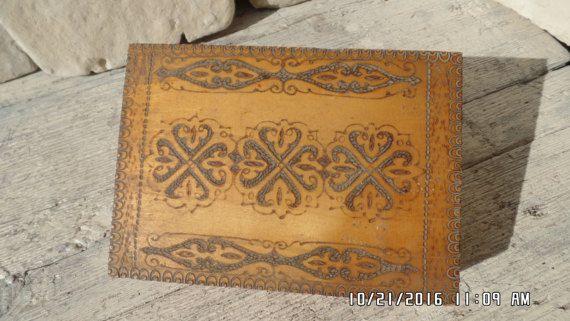 Vintage Poker Work Art Box Wooden Keepsake Box Decorative Banding Handmade Jewelry Box Bulgarian Pyrography