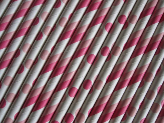 25 or 50 Hot Pink/Light Pink Straws by DKDeleKtables on Etsy