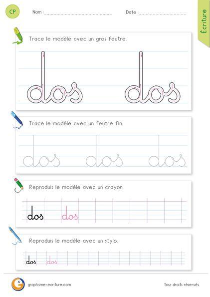 PDF Feuille d'écriture - Écrire le mot dos en cursive. Exercice d'écriture CP et CE1. Fiche pour apprendre à écrire le mot dos en cursive.