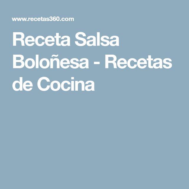 Receta Salsa Boloñesa - Recetas de Cocina