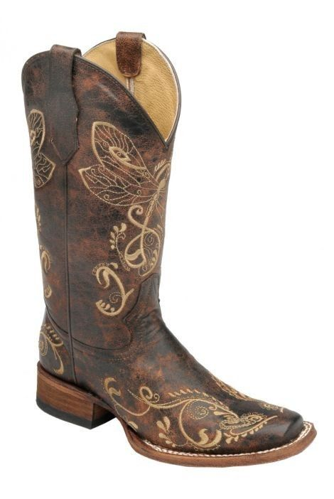 Corral Boots Womens Leather Circle G Dragonfly Brown Sq Toe Cowgirl My  boots I bought for my wedding for the future.