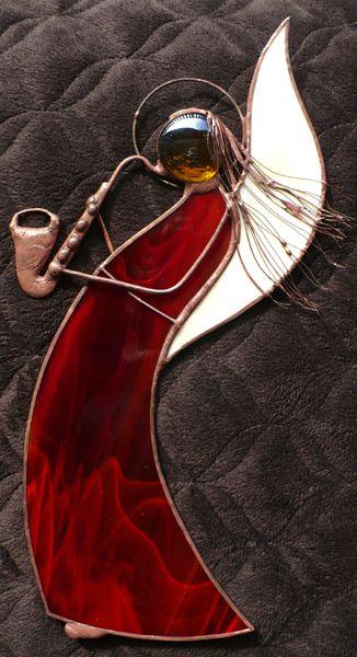 Anioł z saksofonem - witraż tiffany - CAHAYA - Srebrna Agrafka: