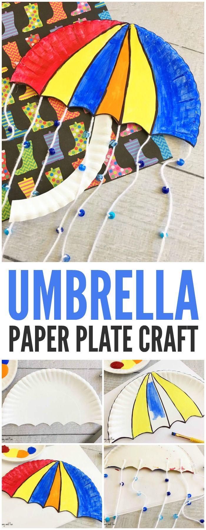 Cute Umbrella Paper Plate Craft for Kids to Make