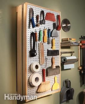 DIY Garage Cabinet - hinge opens and reveals shelving and pegboard inside. Seems easy enough!