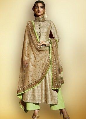 Beige and Pista Green Khadi Palazzo Suit