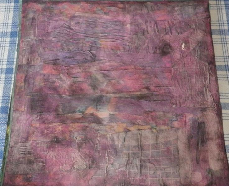 Background collage, paint,ink pan pastel on 12 x 12 cardstock By Julie Hamel