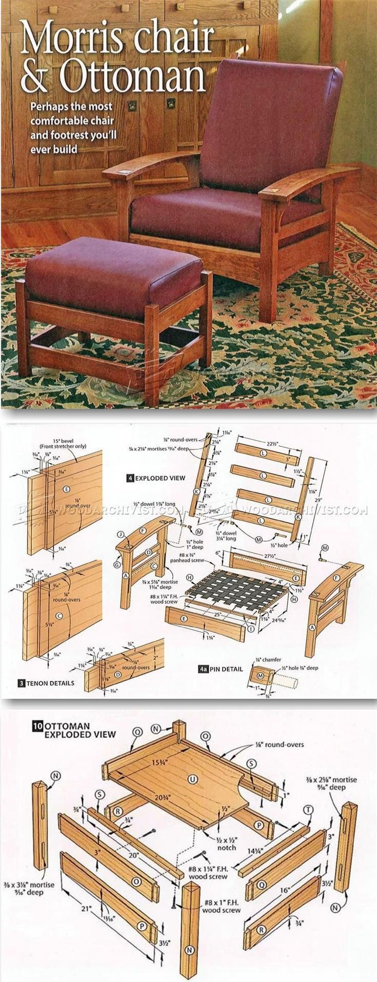 Morris Chair and Ottoman Plans - Furniture Plans and Projects | WoodArchivist.com | чертежи ...