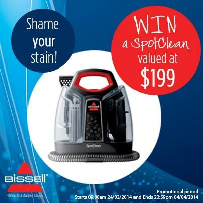 Bissell Australia - **NEWSFLASH** Stand a chance to win a SpotClean when you join our 25 words or less competition! Click here for more details:  http://bit.ly/ShameYourStain   ON THE GO? Mobile users click here:  http://bit.ly/ShameYourStainmobile.   #vacuum#clean#fresh#home
