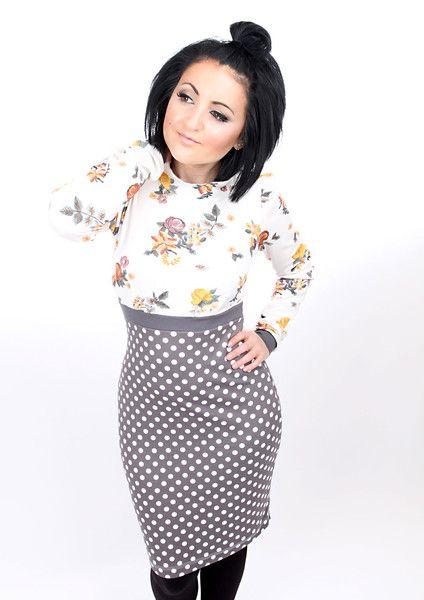 "MEKO+""Pauly""+Kleid+Creme+Damen+langarm+Blumen+von+meko®+Store+++auf+DaWanda.com"