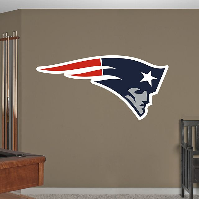 New England Patriots Logo REAL.BIG. Fathead – Peel & Stick Wall Graphics | New England Patriots Wall Decal | Sports Home Decor | Football Bedroom/Man Cave/Nursery