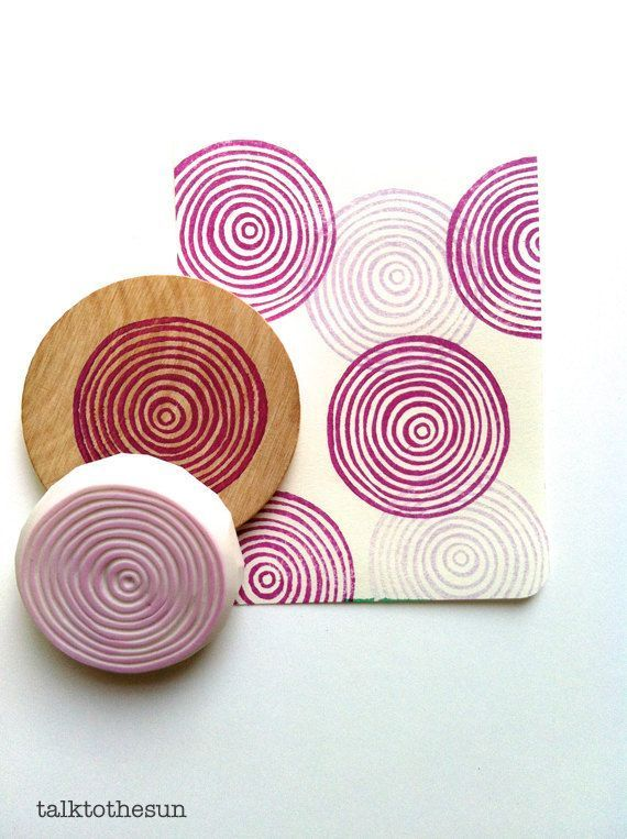 Spiral circle rubber stamp | circle pattern stamp | hand carved stamp for diy, scrapbooking, fabric printing, art journal, gift wrapping
