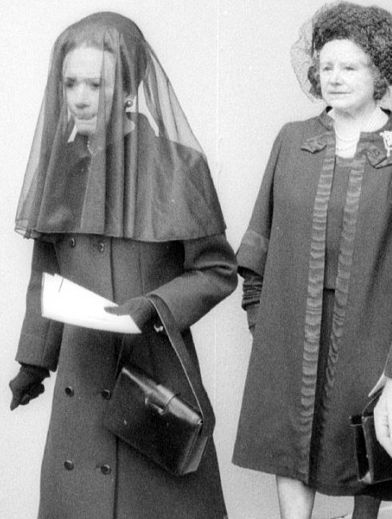 Wallis Simpson (Duchess of Windsor) with Queen Elizabeth, the Queen Mother at the funeral of Edward, Duke of Windsor, 1972.