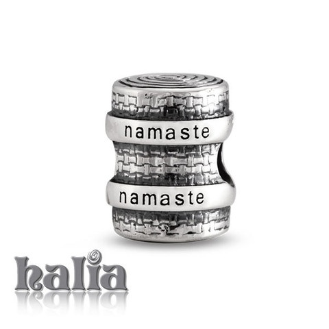 Namaste (Yoga Mat): A reminder of your practise and to set your intentions: yoga mat bead: designed exclusively by Halia, this bead fits other popular bead-style charm bracelets as well. Sterling silver, hypo-allergenic and nickel free.   $35.00