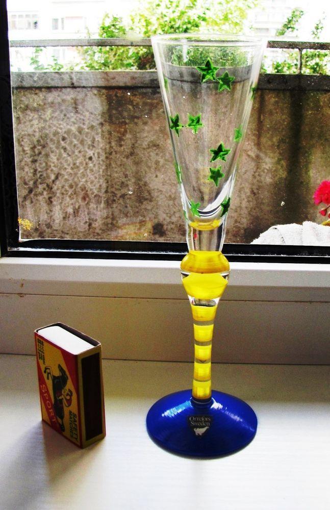 Sweden Orrefors Anne Nilsson art glass Clown Flute strong alcohol liquor vodka…