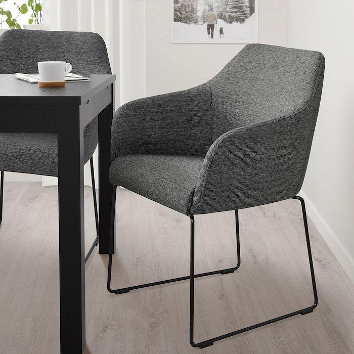 Tossberg Stuhl Metall Schwarz Grau Ikea Deutschland Upholstered Chairs Upholstered Dining Chairs Ikea