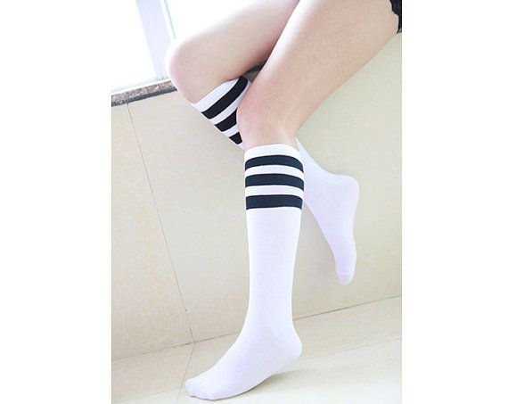 Womens Boot Socks Knee Socks Black and White Striped by GXJSocks
