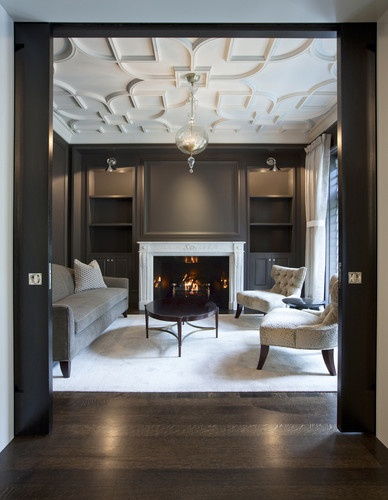 salon with custom plaster ceiling traditional living room