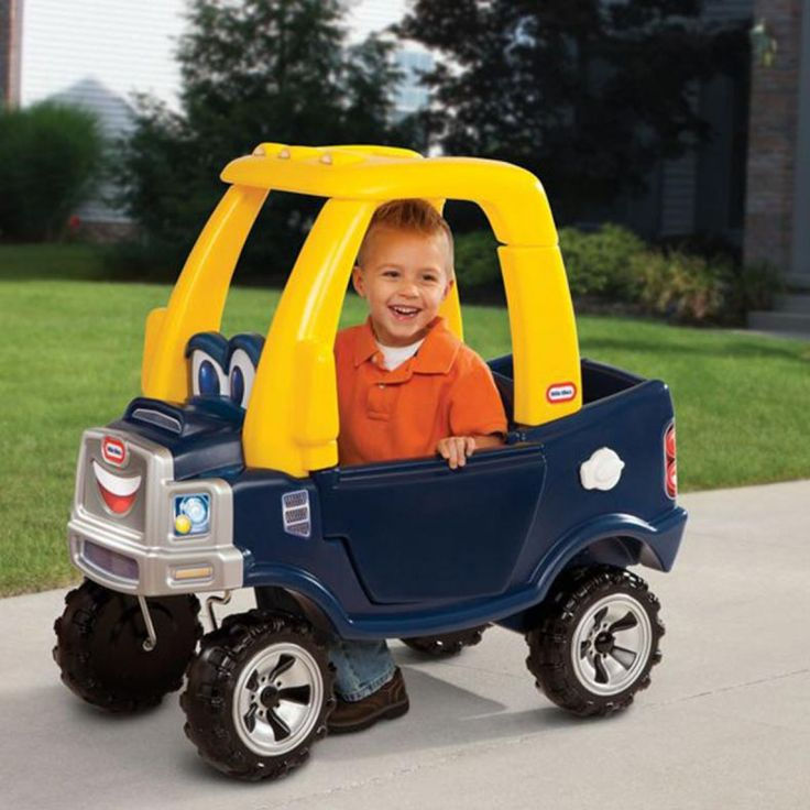 The Little Tikes Cozy Truck is a roomy pickup truck for hard-working kids. The flatbed features a drop-down tailgate, and the rugged off-road wheels mean your little trucker will have no problem riding down the sidewalk or through your yard. The chrome-colored gas cap opens and closes, and the steering wheel features a working horn. The distinctive truck styling offers a realistic front grill and a working driver's door. Also avaliable in 'Princess' pink & purple colours. 1 Year +