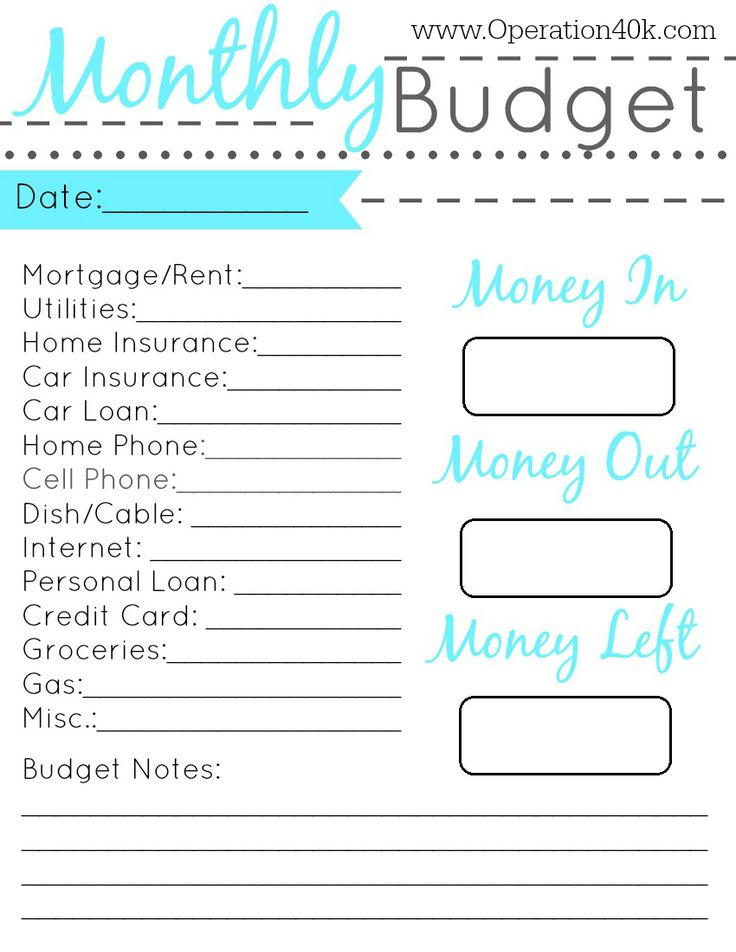 family budget monthly