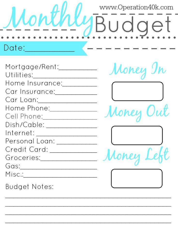 free printable monthly budget planner worksheet