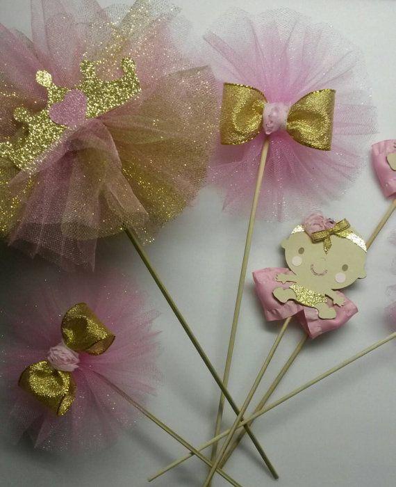 Rosa oro pieza central primer cumpleaños tiara de la princesa corona tema bebé ducha tutu centro de mesa bailarina centro de mesa