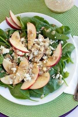 Spinach Apple Salad With Honey Mustard Vinaigrette - I Used Feta Instead Of Blue Cheese.