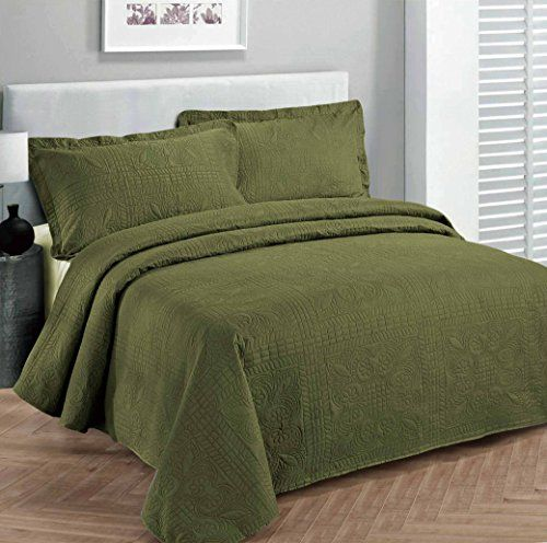 "Fancy Collection 3pc Luxury Bedspread Coverlet Embossed Bed Cover Solid Olive Green New Over Size Full/queen 100"" X 106"" Fancy Linen http://www.amazon.com/dp/B019YJM4LU/ref=cm_sw_r_pi_dp_YQm0wb0ZYMBB9"