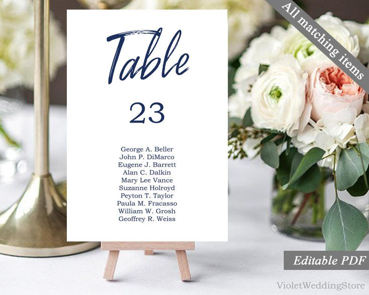 Navy Table Number. Wedding Table Number Template. Printable Table Number Card. Calligraphy Modern Elegant Classic Place Card Download PDF http://etsy.me/2yYzrRa #weddings #invitation #blue #white #navy #table #number #template #printable