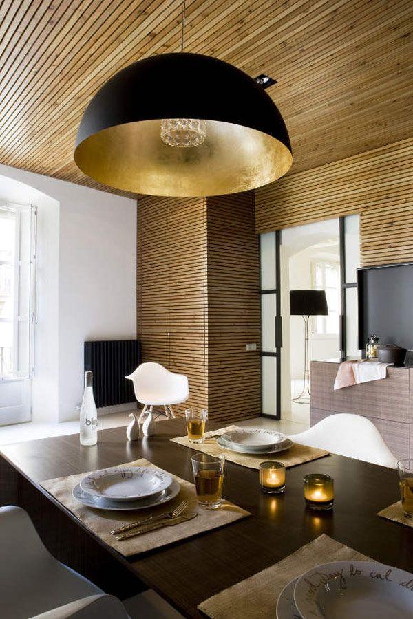 kitchen with wood slat panelling