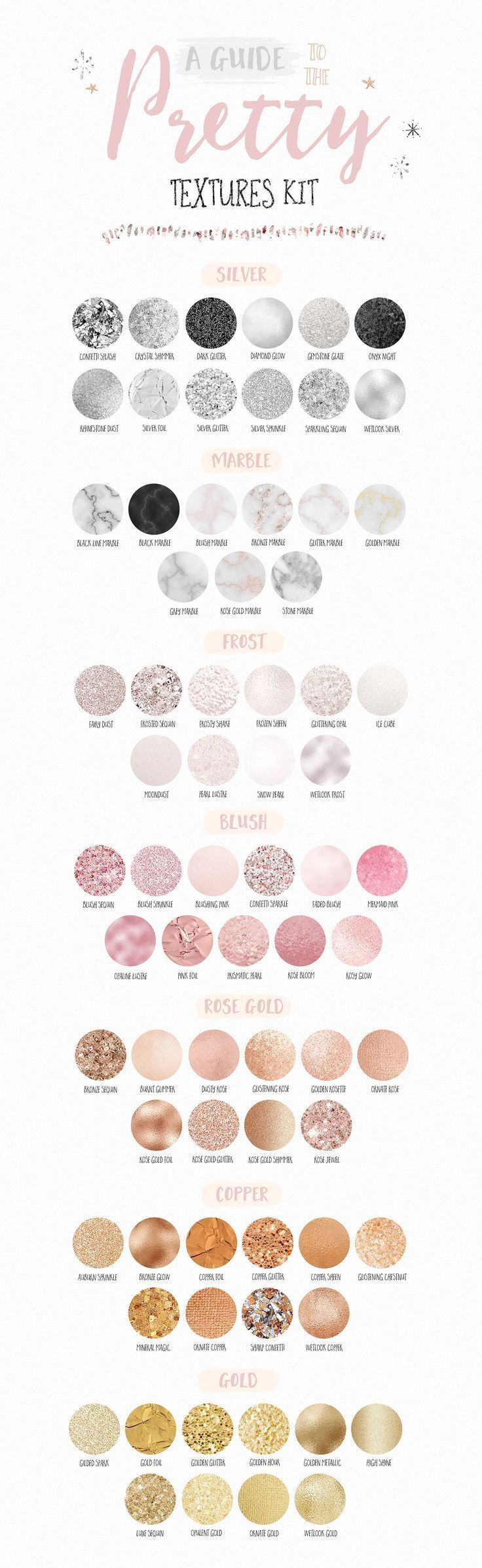 A guide to the Pretty Textures Kit | Download textures in silver, marble, blush, rose gold and gold to add to graphic design, logos, branding, stationery, scrapbooking, blog design, eBooks and more! Click on the image to find it at Creative Market ♥️