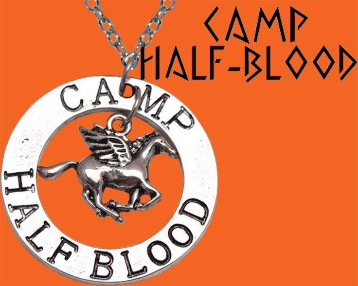 Camp Half-Blood Percy Jackson Pesasus Zeus Half Blood Pendant Necklace Silver