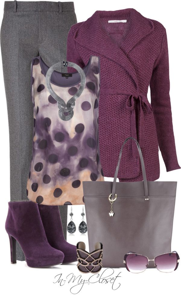 Love these colors together, and what a great outfit for work. Would want a darker purple sweater though.