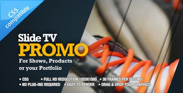Slide TV Promo. Advertise your TV spot, product, portfolio with this customizable After Effects CS5 project. For $12.00