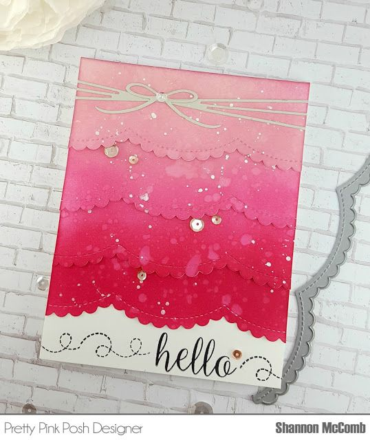 Stamp & Glitter: Hello Pink Ombre featuring Pretty Pink Posh