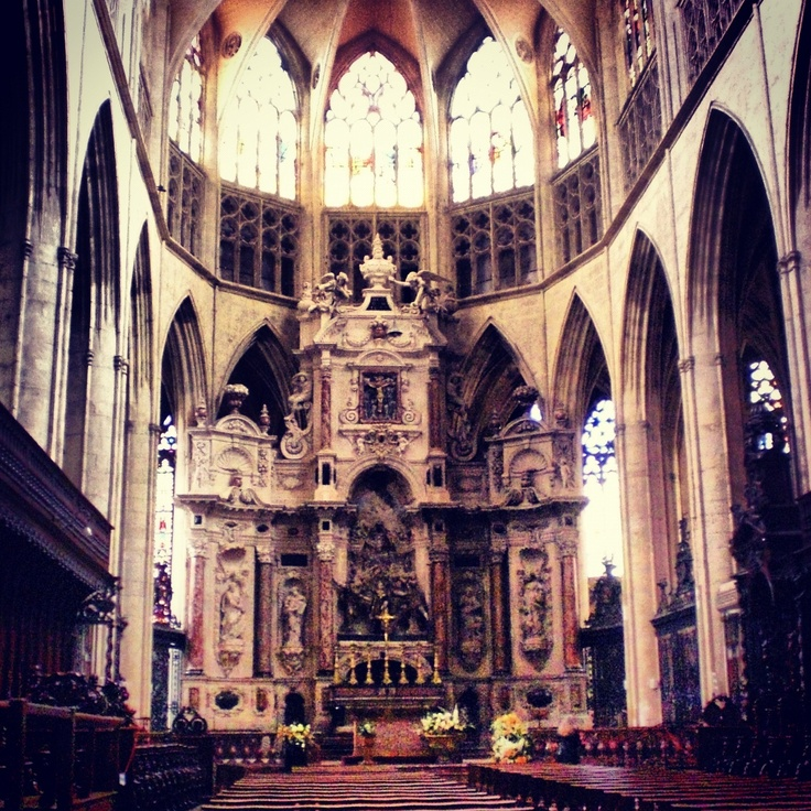 Inside of a beautiful cathedral.