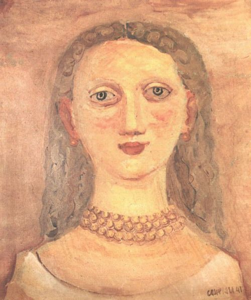 """Fresco (1941) by Massimo Campigli (1895-1971), Italian - As from 1926, he joined the """"Paris Italians"""" together with de Chirico, de Pisis, Renato Paresce, Savinio, Severini and Mario Tozzi - In 1928 he was very much taken by the Etruscan collection when visiting the National Etruscan Museum in Rome. He then broke away from the compact severity of his previous works in favour of a plane with subdued tones and schematic forms rich in archaisms (wiki - 88pp)"""