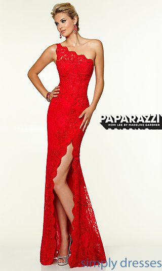 One Shoulder Floor Length Lace Dress by Mori Lee