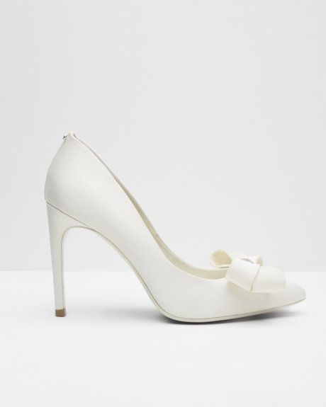 Statement bow court shoes - Cream | Shoes | Ted Baker