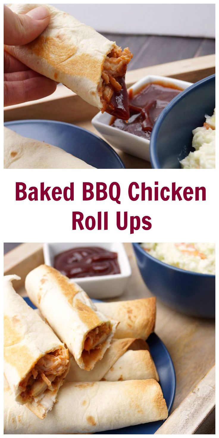 Baked BBQ Chicken Roll Ups--use a rotisserie chicken and they only take 10 minutes to make! #effortlessmeals #ad @walmart (kids baking recipes chicken breasts)