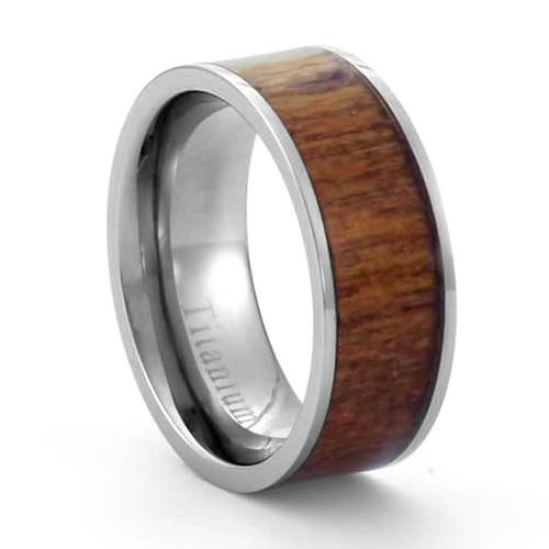 8mm Eternity Brown Wood Inlay Titanium Band Mens Wedding Ring