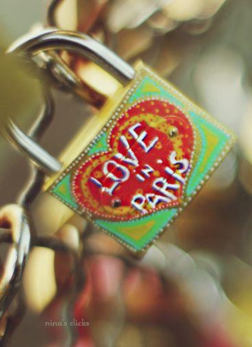 A love lock on the Pont des Arts (Paris, France)