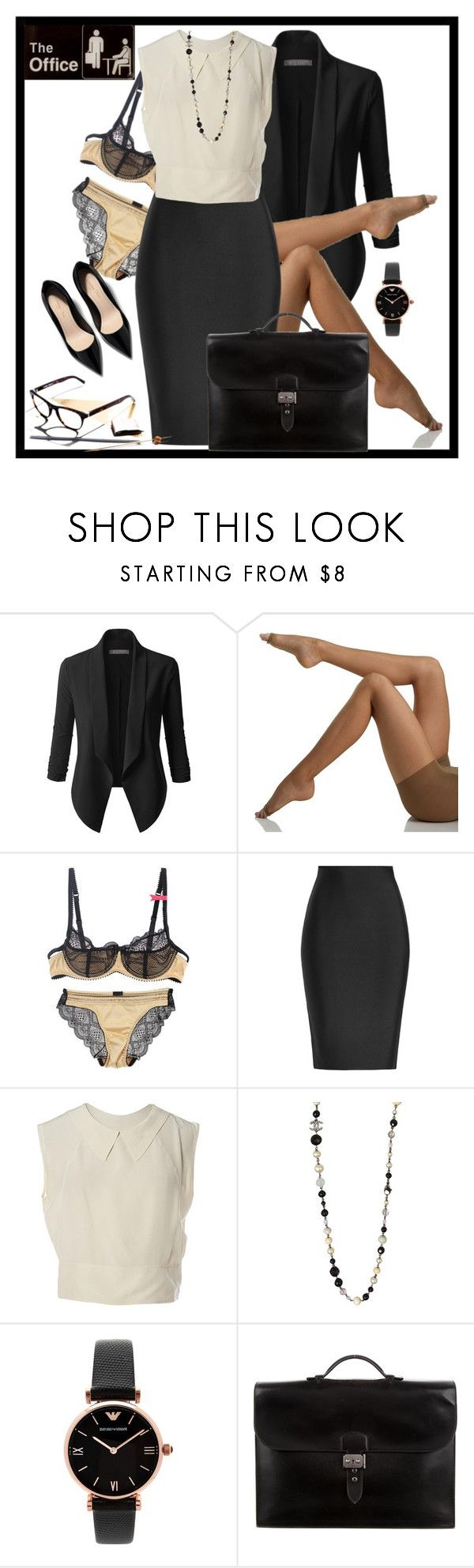 """""""Office look!"""" by wat2wear-849 ❤ liked on Polyvore featuring LE3NO, Berkshire, Roland Mouret, Chanel, Emporio Armani and Hermès"""