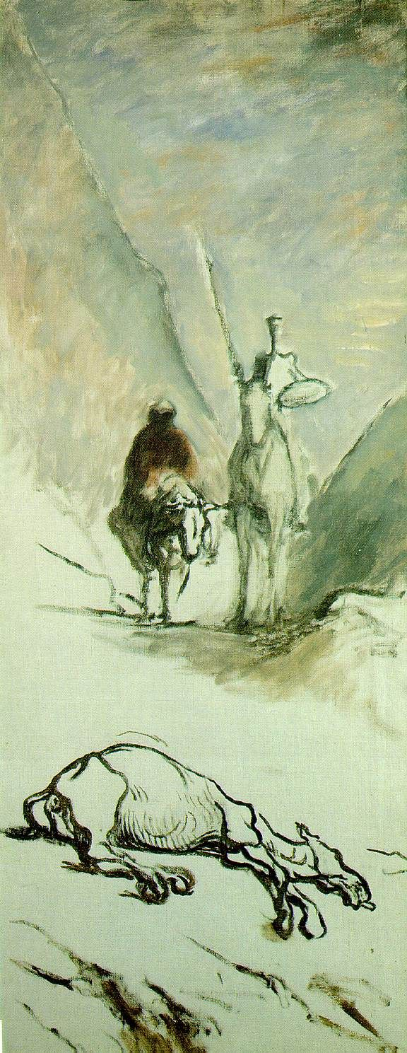"""Don Quixote and the Dead Mule "" Honoré Daumier – 1867"