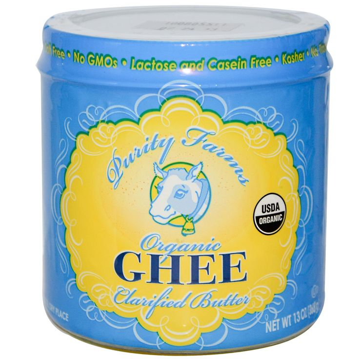 Purity Farms, Organic Ghee Clarified Butter, 13 oz (368 g) Use my code WQM822 if u are new to iherb:) Its taste the same as regular butter and its healthy too:)) My favourite butter:)))  0 mg/Serving Oxidized Cholesterol, Kosher, No Transfatty Acids, Salt Free, No GMOs, Lactose and Casein Free, USDA Organic