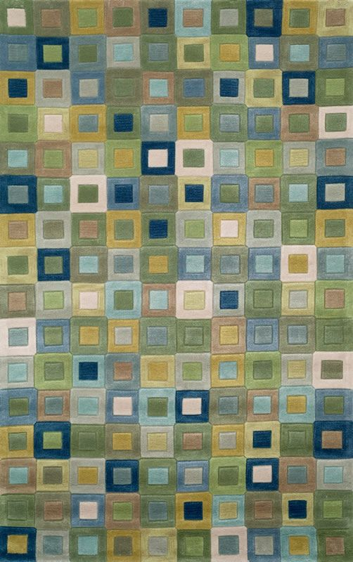 Amalfi Collection Amalfi Square In Square Ocean Blue Green Olive And White  Contemporary Area Rug